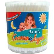 Ватные палочки Aura Солнце и Луна Детск.200шт стакан фото