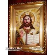 Икона Спасителя - Икона Ручной Работы Из Янтаря Код товара: Оарп-2 фото