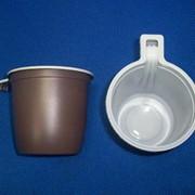 Чашка кофейная 200 мл бело-коричневая двухслойная РР фото
