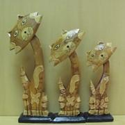 Набор 3х котов Чучело Мяучело -серые с золотым декором -плоские, арт. 981132/1 фото