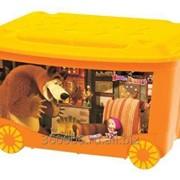 Ящик для игрушек на колесах Маша и медведь фото