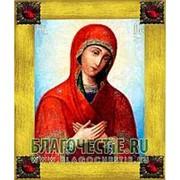 Благовещенская икона Огневидная Богородица, копия старой иконы, печать на дереве, золоченая рамка, стразы Высота иконы 18 см Красные стразы фото