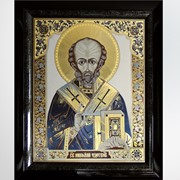Гравюра Икона Николай Чудотворец k0002005, гравюры, панно, церковная утварь фото