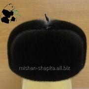 Шапка-ушанка из меха норки цельномеховая фото