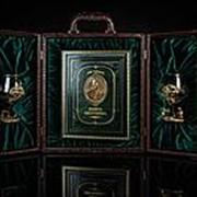 Набор «Охота», с бокалами для коньяка и книгой с расписным обрезом и бронзо фото