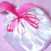 Белый мешочек с розовыми лентами фото
