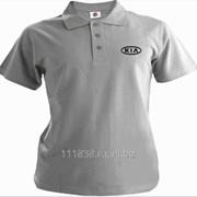Рубашка поло Kia серая вышивка черная фото