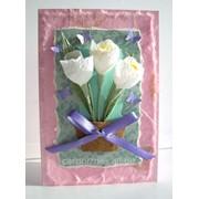 Открытка С 8 марта - белые цветы фото