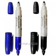 Маркер перманентный двухсторонний economix, синий E11602-02 фото