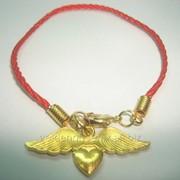 Браслет Красная Нить Сердце золотое 176126031 фото