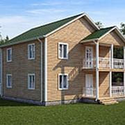 Двухэтажный дом из бруса 9х9 под усадку терраса+балкон фото
