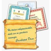 Сертификат и грамота фото
