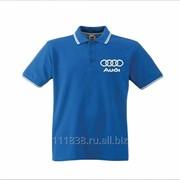 Рубашка поло Audi синяя с полоской фото