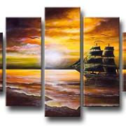 """Модульная картина """"Старинный корабль"""" фото"""