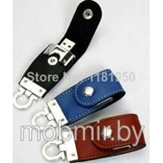 USB Flash drive (флешка) на 64 ГБ в черном кожаном чехле с кольцом фото