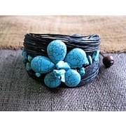 Браслет каменный бирюзовый цветок фото