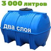 Резервуар для хранения пищевых продуктов, питьевой воды и дизеля 3000 литров, синий, гор фото
