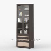 Шкаф 2-дверный с ящиками Соло 054 Корпус венге, фасад венге/дуб молочный/стекло фото