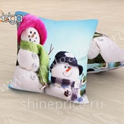 Снеговики арт.ТФП2944 (45х45-1шт) фотоподушка (подушка Габардин ТФП) фото