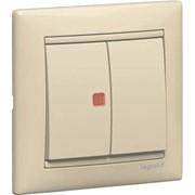 Выключатель двухклавишный c подстветкой Legrand серии Valena фото