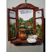 Панно настенное «Деревенское окно», керамика,23х16 фото