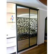 Двери для шкафов купе зеркальные с черным узором фото