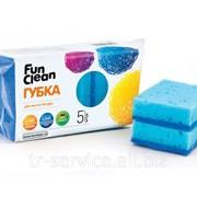 Губка для мытья посуды Fun Clean, в ассортименте - 5 шт/уп, 60 уп/кор