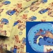 Ткань постельная Бязь 110 гр/м2 150 см Набивная Верный друзья голубой/S298 MGO фото
