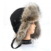 Черная матовая шапка ушанка для юноши, мех Енот финский фото