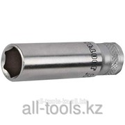 Торцовая головка Kraftool Industrie Qualitat , удлиненная, Cr-V, Flank , хромосатинированная, 1/4, 13 мм Код:27817-13_z01 фото