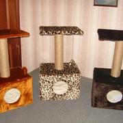 Когтеточка-домик искусственный мех,джут фото