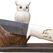 Нож из дамасской стали Орлан на подставке Сова фото