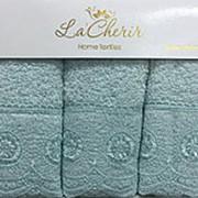 4290051 Ментол 30х50х3шт Махра с кружевом в коробке Набор полотенец АРТЕКС фото