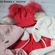 Детский комплект: шапка с ушками на тесемках и шарф фото