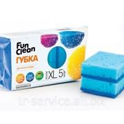 Губка для мытья посуды Fun Clean, в ассортименте - 5 шт/уп, 40 уп/кор фото