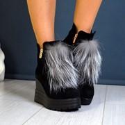 Женские зимние ботинки из нат. замши с опушкой из разного меха. ДС-19-1018 фото
