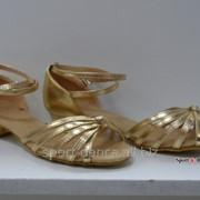 Туфли для бальных танцев, каблук 3 см золото фото