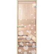 Стеклянная дверь для бани и сауны с рисунком  фото