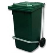 Бак на колесах для мусора 120л с педалью SAF147A фото