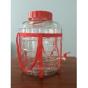 Бутыль (банка) стеклянная 26 литров (с гидрозатвором и краном) фото