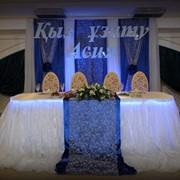 Синее свадебное оформление зала фото