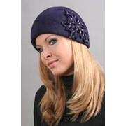 Женская шляпка Wol'ff из чешского велюра фиолетовая с цветком фото