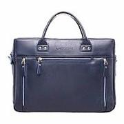 """Кожаная деловая сумка """"Barossa Dark Blue"""" (синяя) фото"""