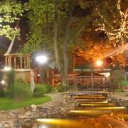 Ландшафтное освещение, освещение сада, освещение парков, освещение растений, освещение жилых объектов, освещение приусадебного участка фото
