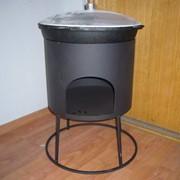 Казан чугунный 12 литровый с печкой и крышкой фото