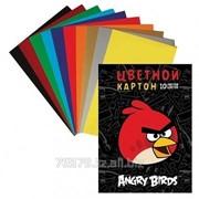 """Набор цветного картона Hatber """"Angry Birds"""", 10 цветов, 10 листов, глянцевый, мягкий фото"""
