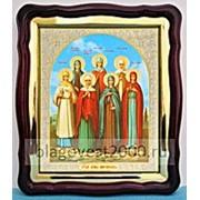 Икона в фигурном киоте, с багетом Храмовая икона, Жены Мироносицы, 43х50 фото