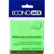 Стикеры для заметок с липким слоем, 75 x 75 mm, 100 листиков, зеленый, economix E20932-13 фото
