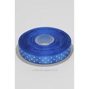 Лента атлас в горошек 12 мм/синий/22,5 м фото
