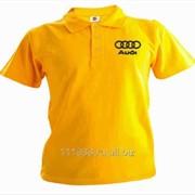 Рубашка поло Audi желтая вышивка черная фото